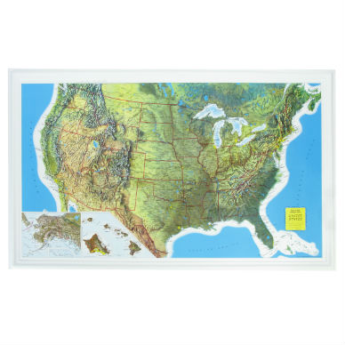 Raised Relief Map Of United States Unframed The Compleat Naturalist - Raised relief map