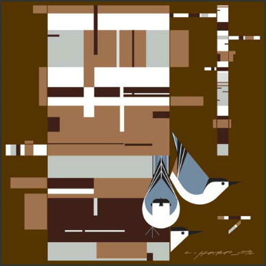"""Birch Bark and Birds"" by Charley Harper"